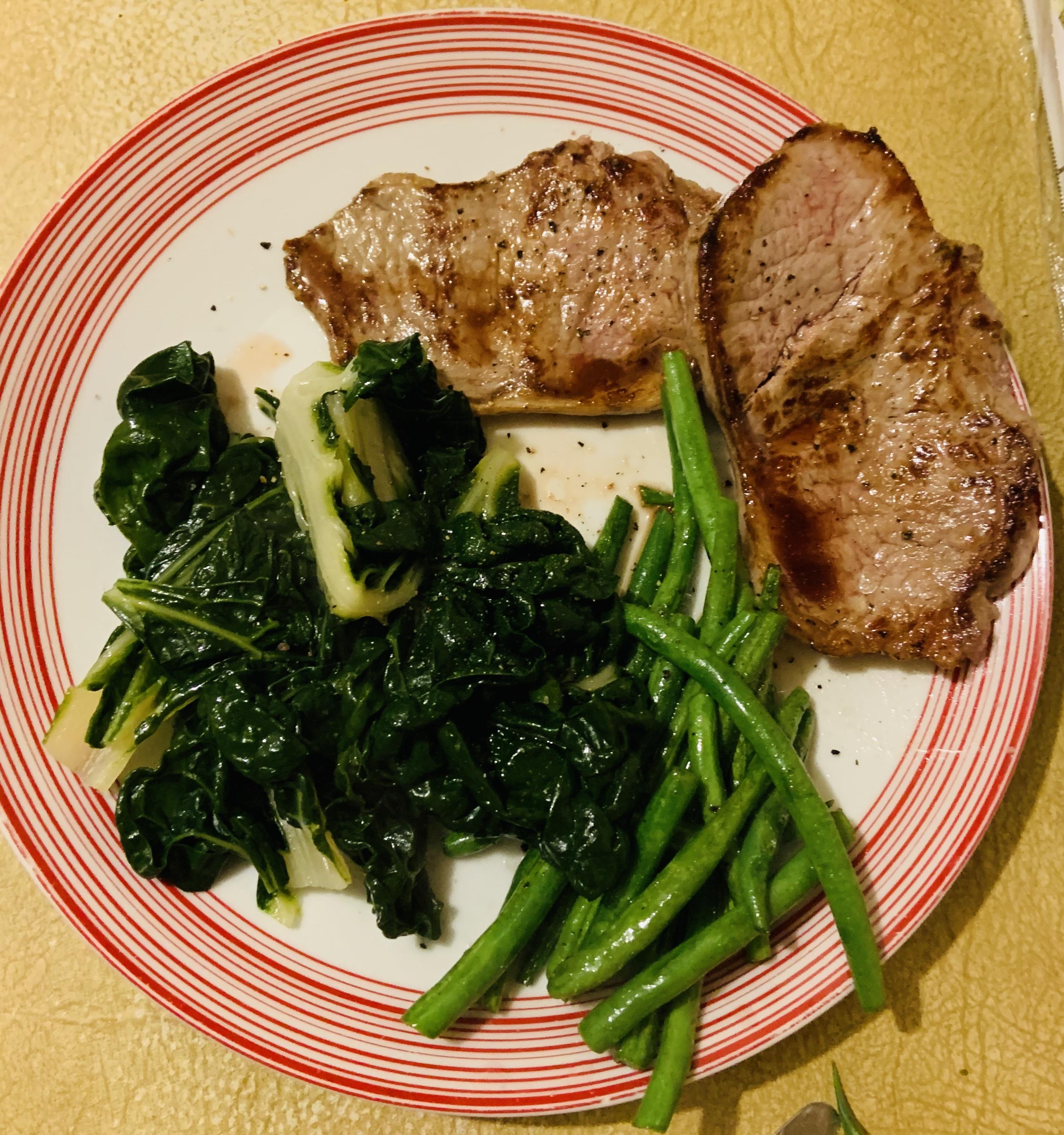 Steak Dinner Beans Silverbeet